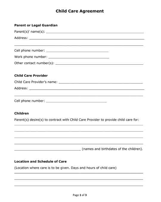 free printable child care agreement form