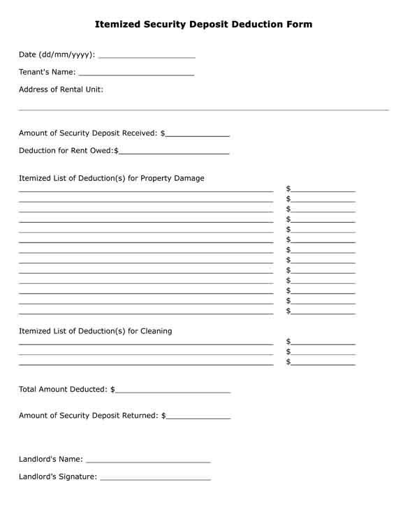 deposit deduction form