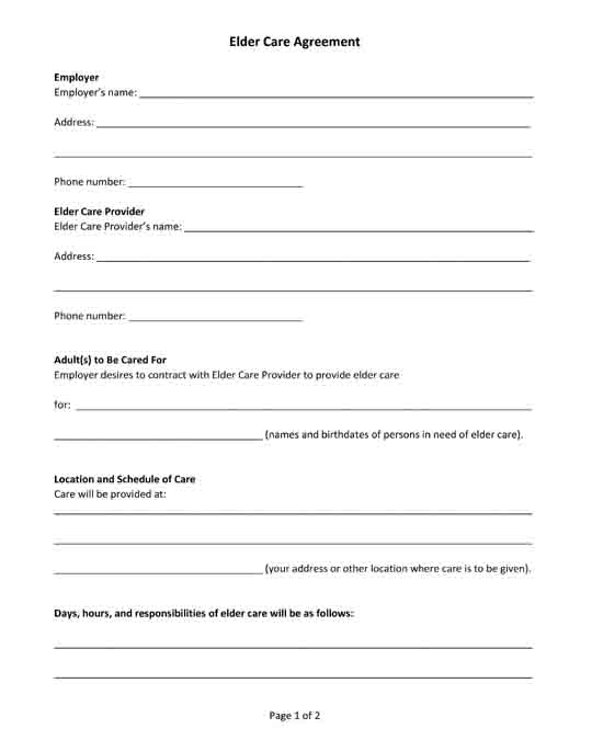 free printable elder care agreement