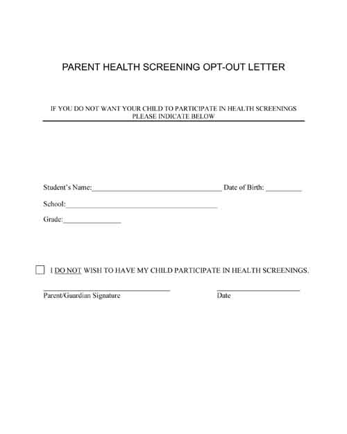 Health screening. Opt out letter for school.