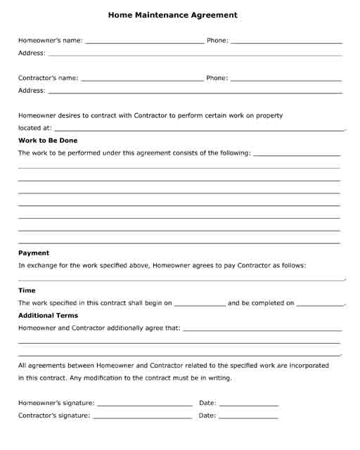 free printable home maintenance agreement form